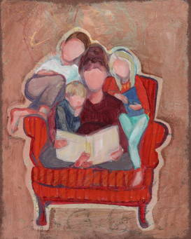 Painting of a woman reading to a group of children cuddled all together in a chair.