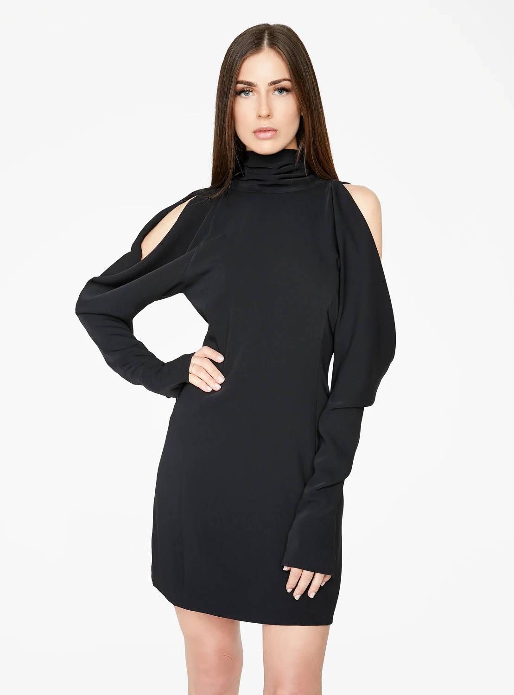 Black Draped Sleeve Mini Dress