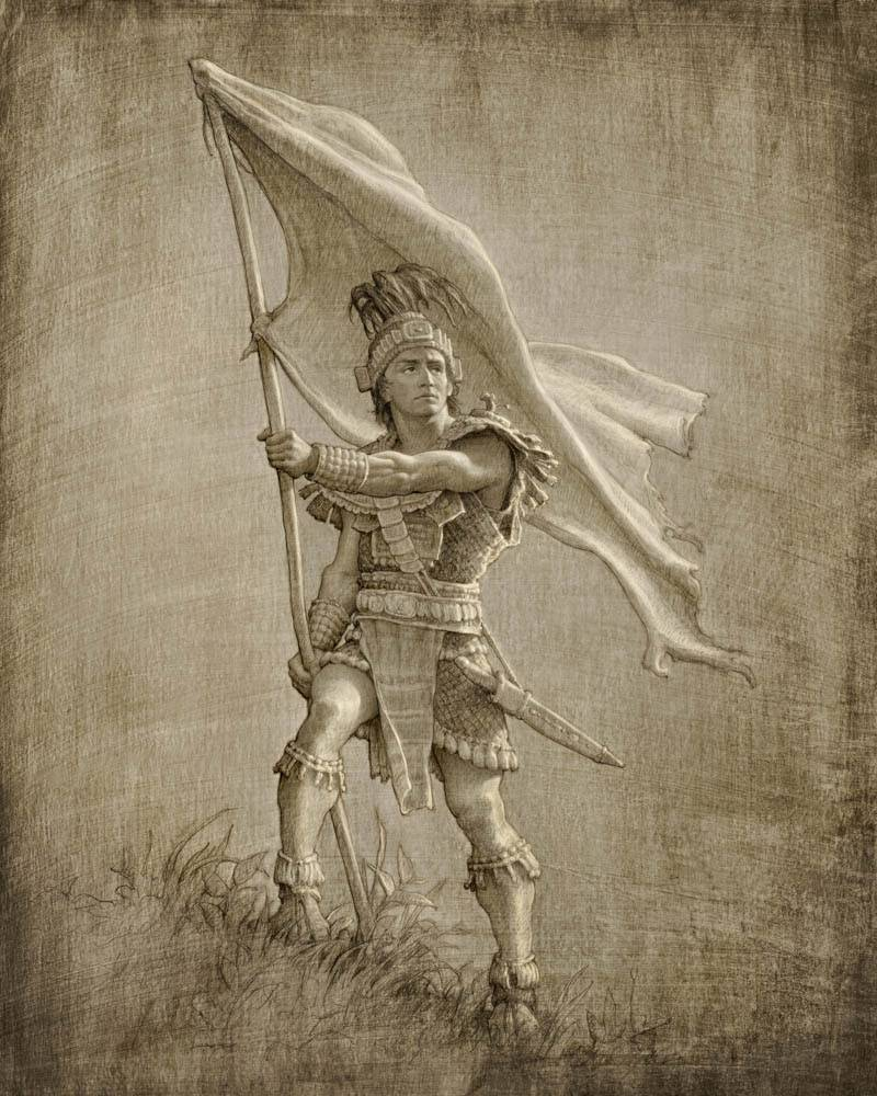 LDS art painting of Captain Moroni with the Title of Liberty.