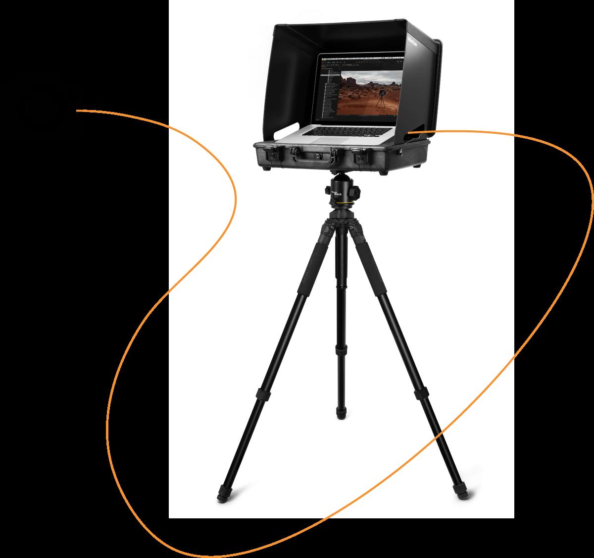 iworkcase digicase on tripod with camera tethered