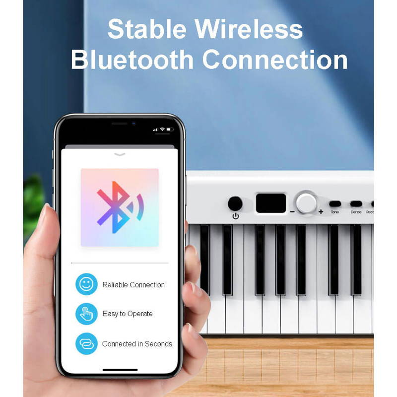 portable keyboard bluetooth, weighted key midi controller,
