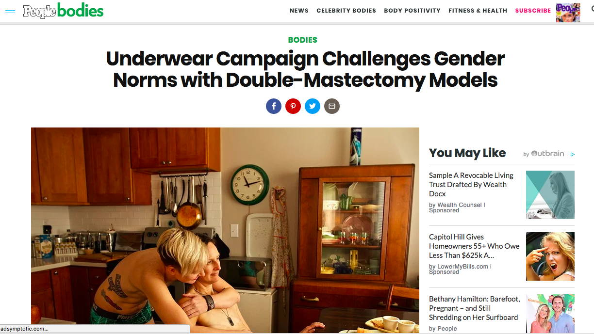 People.com - Underwear Campaign Challenges Gender Norms with Double-Mastectomy Models