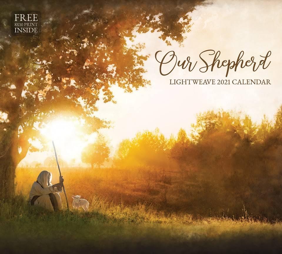 Lightweave's 2021 calendar. Jesus as a shepherd sits beneath a tree.