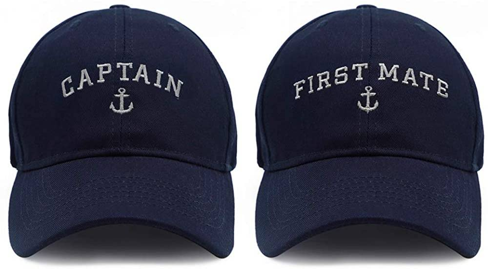 Captain & First Mate Matching Skipper Boating Baseball Caps In Navy Color