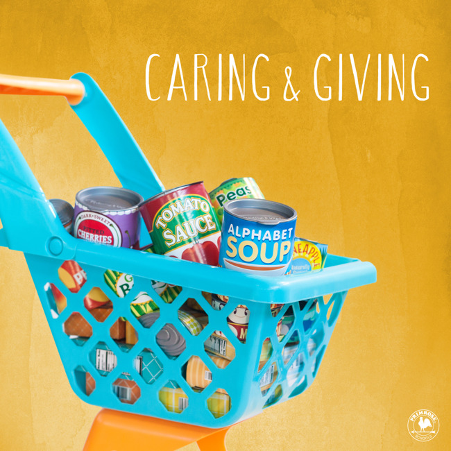Caring and giving poster featuring a mini shopping cart full of canned food