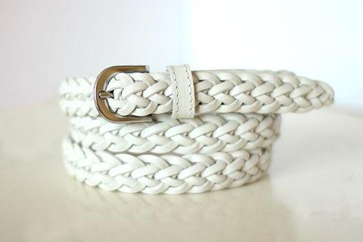 Кожаный плетеный ремень (белый)