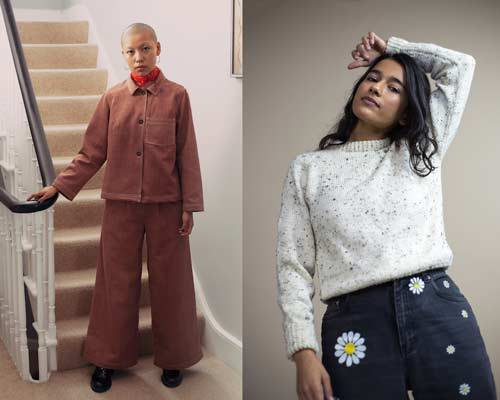 Woman wearing Birdsong organic cotton chore jacket and wide leg pants and woman wearing white nepped jumper