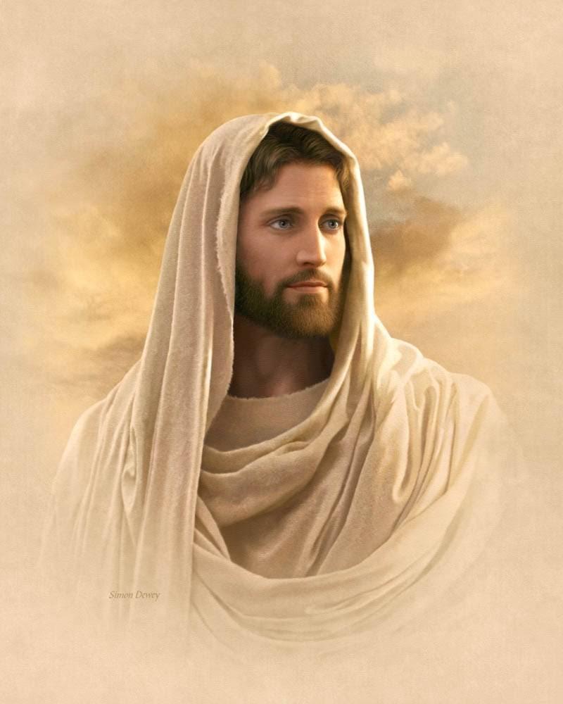 Portrait of Jesus done in cream colors.