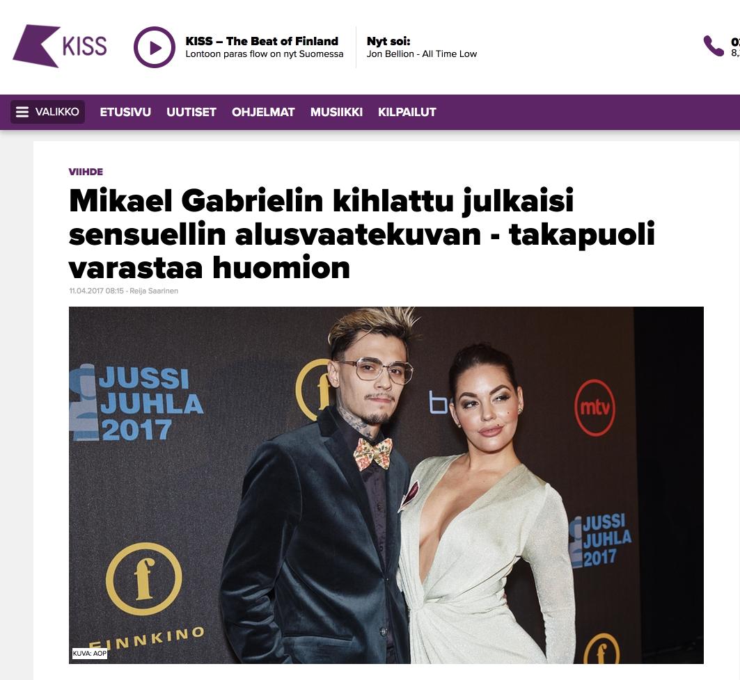 Mikael gabri trolovet publiserte et sensuelt undertøy bilde - Tilbake for å stjele oppmerksomhet - www.kiss.fi