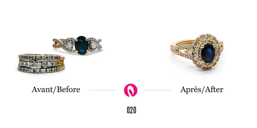 Deux bagues avec plusieurs petits diamants et un saphir se transforme en une luxuriante bague en or jaune avec topaze au centre et deux cercles de diamants pavés et des diamants sur le corps de bague.