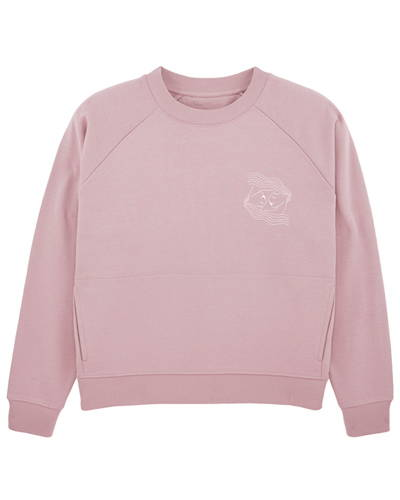 Front of dusty pink organic cotton sweatshirt for women from sustainable womenswear brand Birdsong