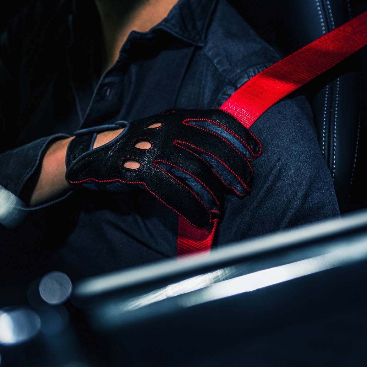 Ferrari red driving gloves