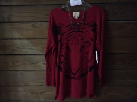 Carolina Red Sweater with Black Tiger Face