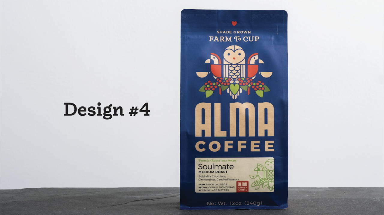 The blue Alma coffee bag