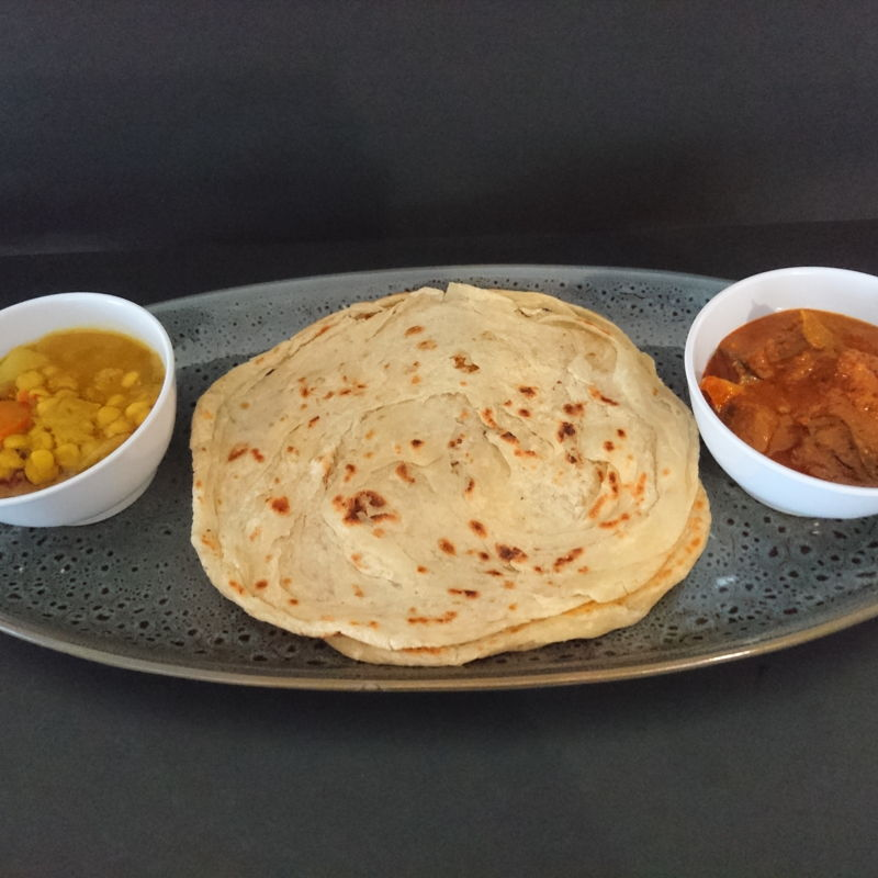 Date: 25 Nov 2019 (Mon) Roti Canai (Indian Flatbread) served with Dhal Curry (Indian Dhal Curry) and Kari Kepala Ikan (Fish Head Curry)