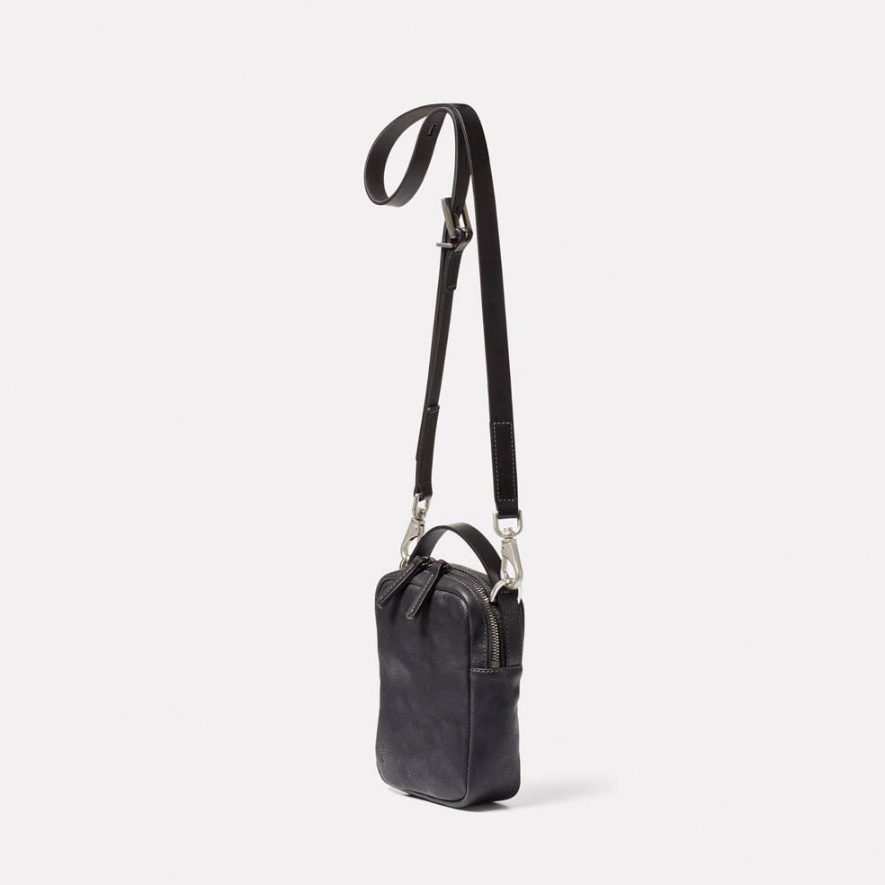 Hurley Calvert Leather Crossbody Bag in Black Angle
