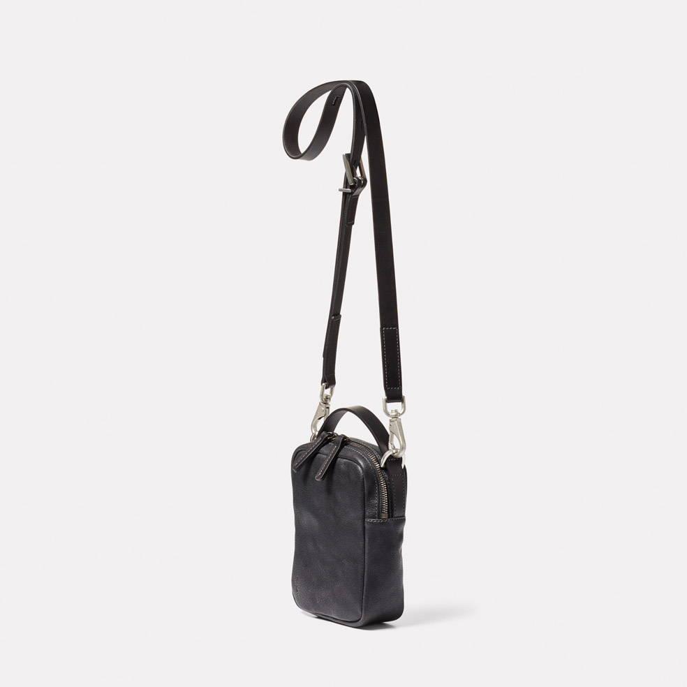 Hurley Calvert Leather Crossbody Bag in Black Angle
