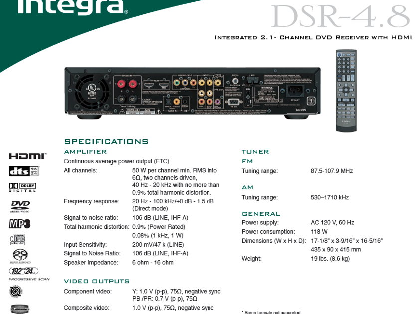 Integra DSR-4.8 AS IS