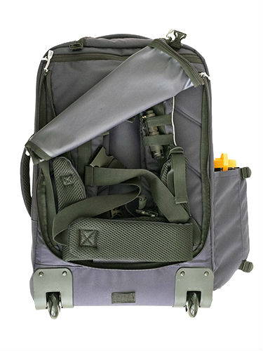 Go bag with partially open back showing backpack straps