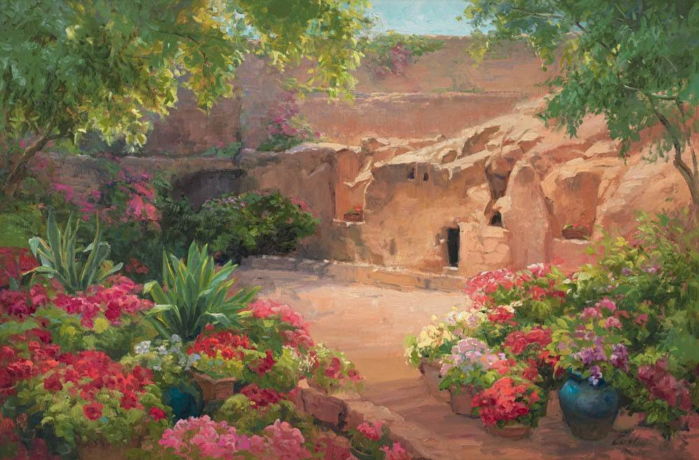 Spring-colored painting of Jesus' empty tomb.