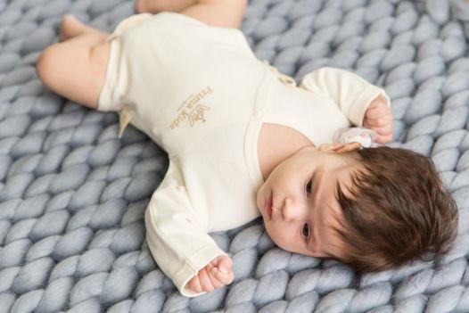 Детское боди из 100%ого органического хлопка с завязочкой и вышивкой Prima Kids