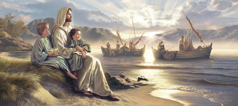 LDS art painting of Christ sitting with young boys next to men in fishing boats.