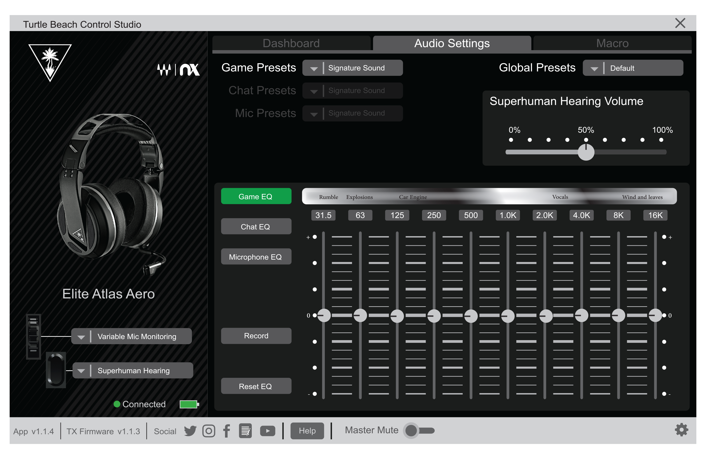 audio settings - control studio