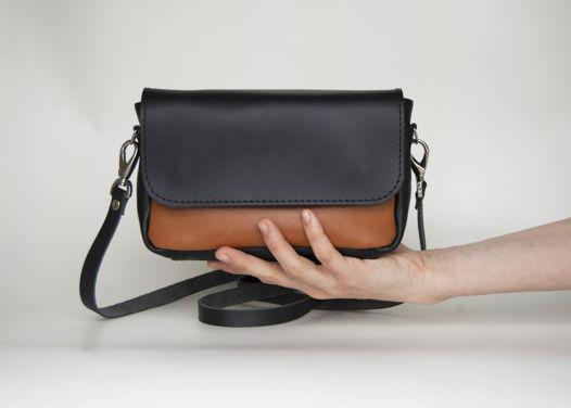 Кожаная черная с рыжим  сумка Candy Double