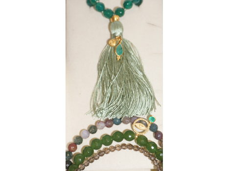 Be the Change Stretch Bracelet and Green Onyx Reflections Mala