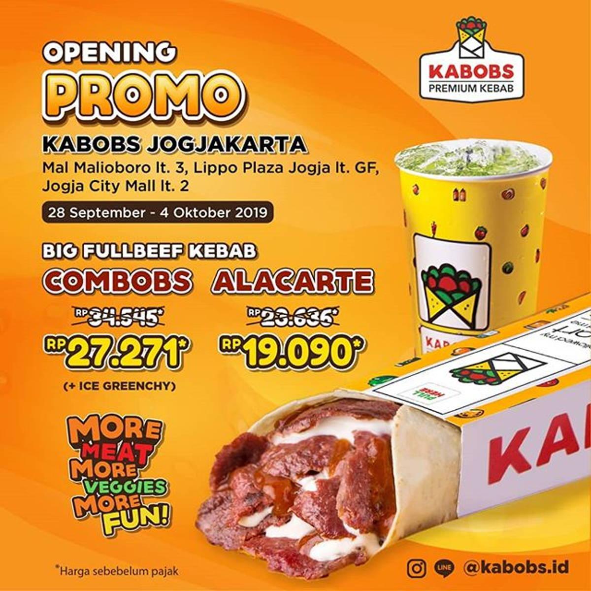 Katalog Promo: KABOBS Jogjakarta: Opening PROMO Harga Spesial BIG FULLBEEF KEBAB Cuma Rp 19.090* - 1