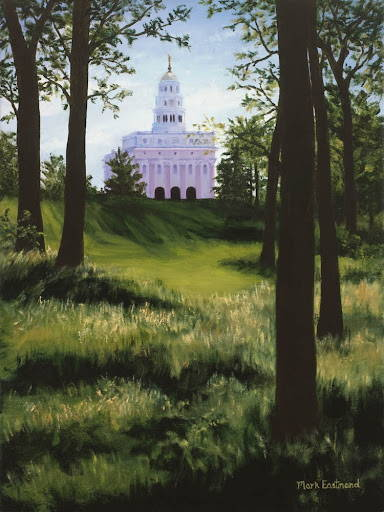Painting of the Nauvoo Temple standing behind forest trees.