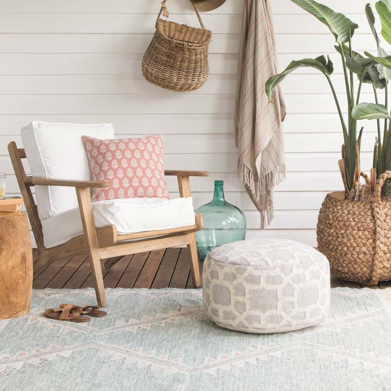 washed out teal rug outdoors