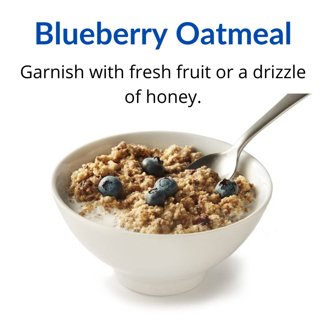 Blueberry Oatmeal: Garnish with fresh fruit or a drizzle of honey.