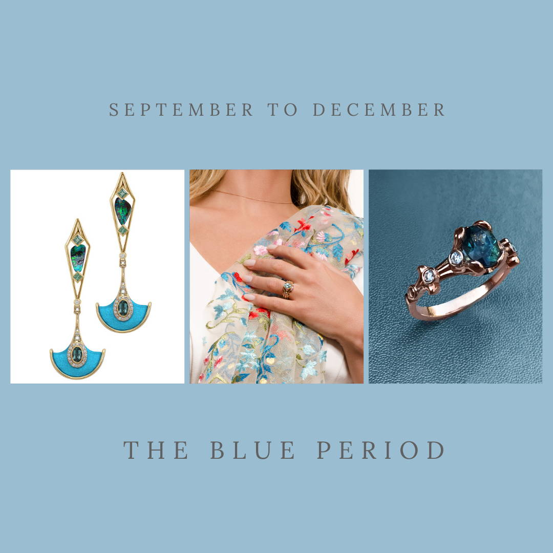 September ot December birthstone in designer jewelry made in Montreal. Featuring boulder opal and tourmaline earrings and ethically sourced sapphires.
