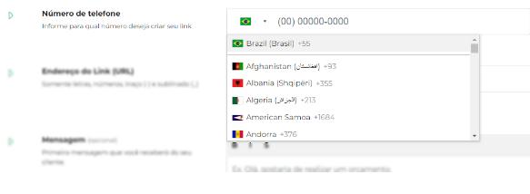 Definir País e DDD do número do Whatsapp e novo link
