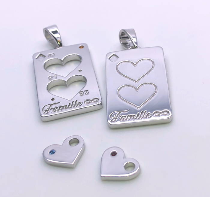 sterling silver family pendants with small stones