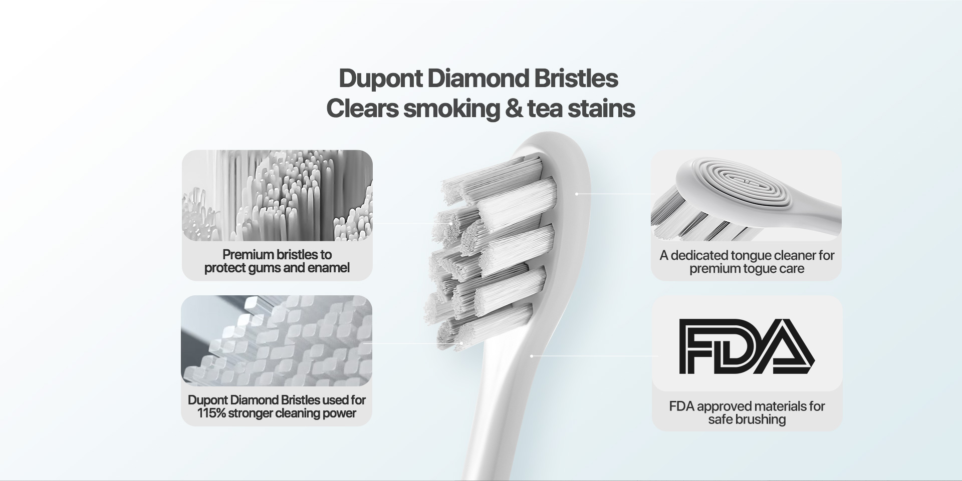 Dupont diamond bristles clears smoking &tea stains