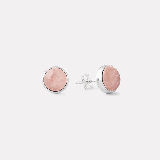 Пуссета круг с розовым кварцем