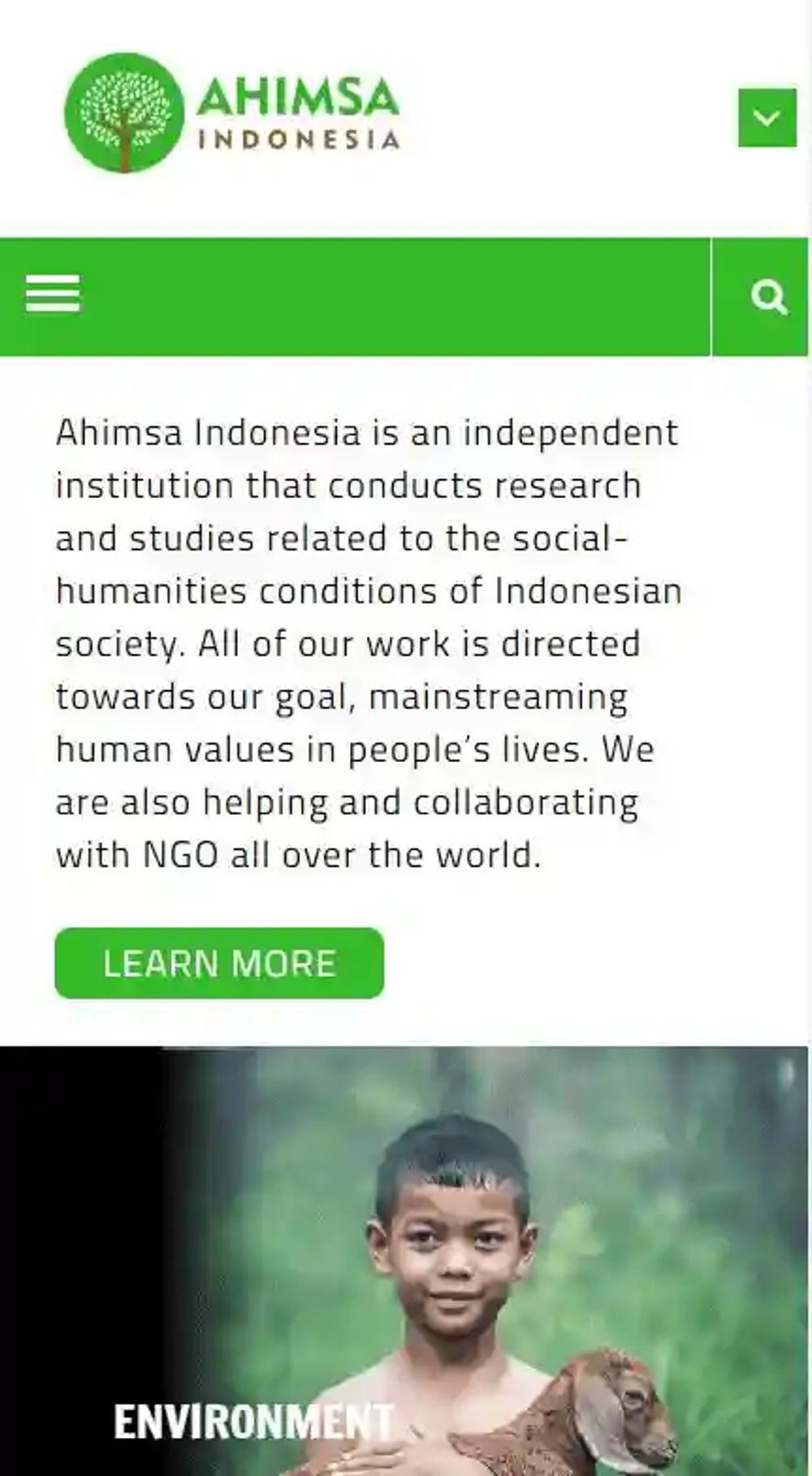 Philoshop Web Design for ahimsa.id Mobile View