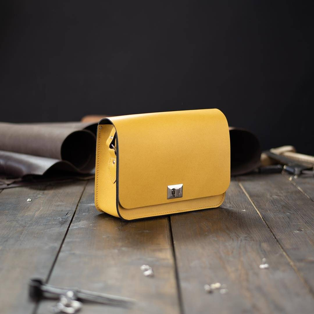 Yellow Large Leather Crossbody Bags