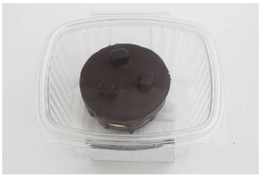 single serve container prior to makeover to eco friendly packaging for baked goods, canada