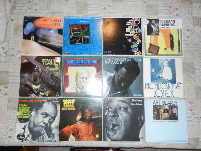 14 LPs Jazz LP Lot Blakey Cannenball Adderley Wes Montgomery - Louis Armstrong Sonny Stitt Herbie Mann Monet Lester Young Dizzy Gillespie Colemna Hawkins RARE [8/10 and up]