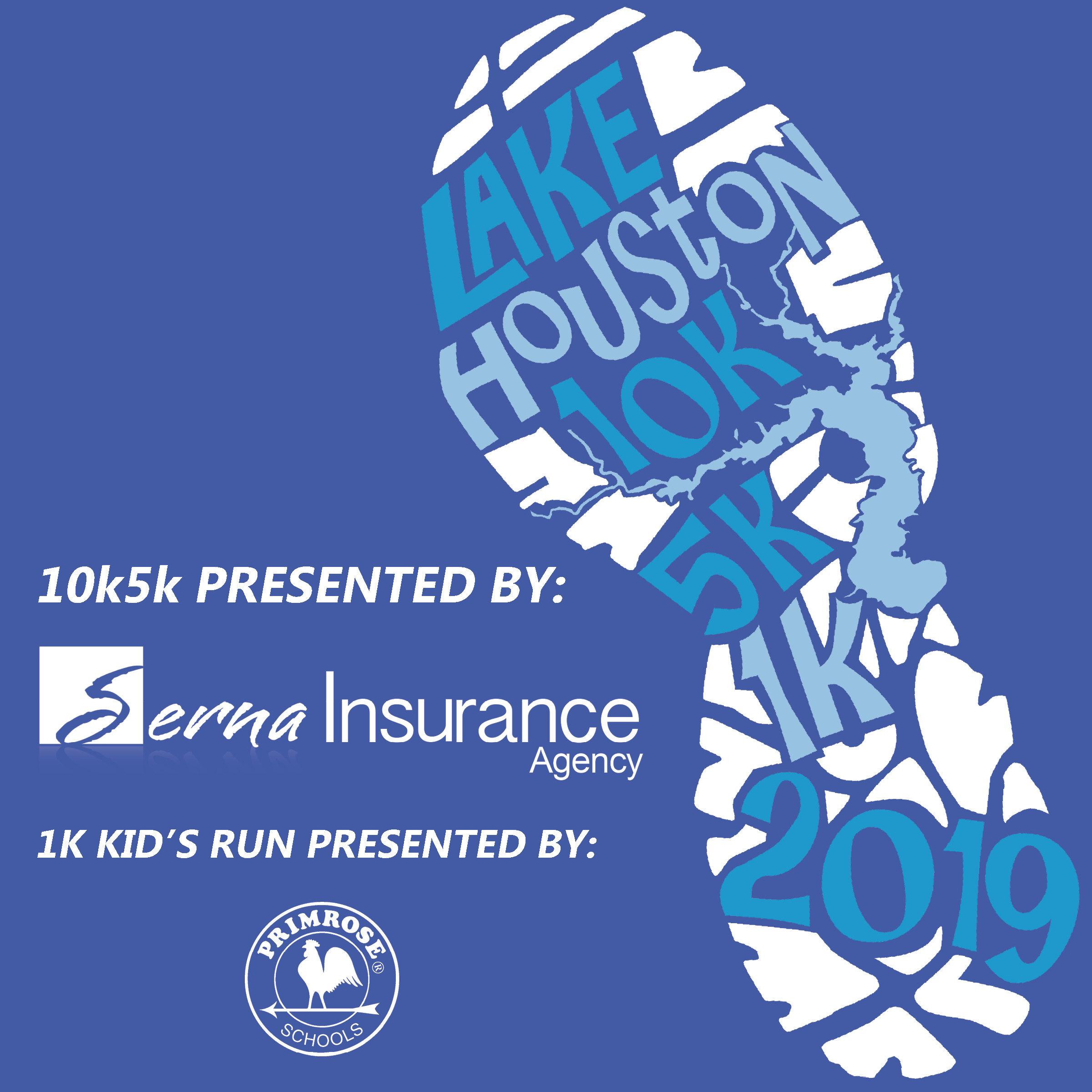 10th Annual Lake Houston 10k, 5K, and 1K Kids Run.   Presented by Serna Insurance and Primrose Schools. Kings Harbor