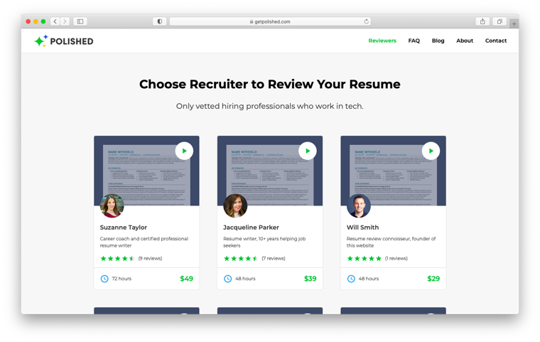 Resume reviewers at Polished