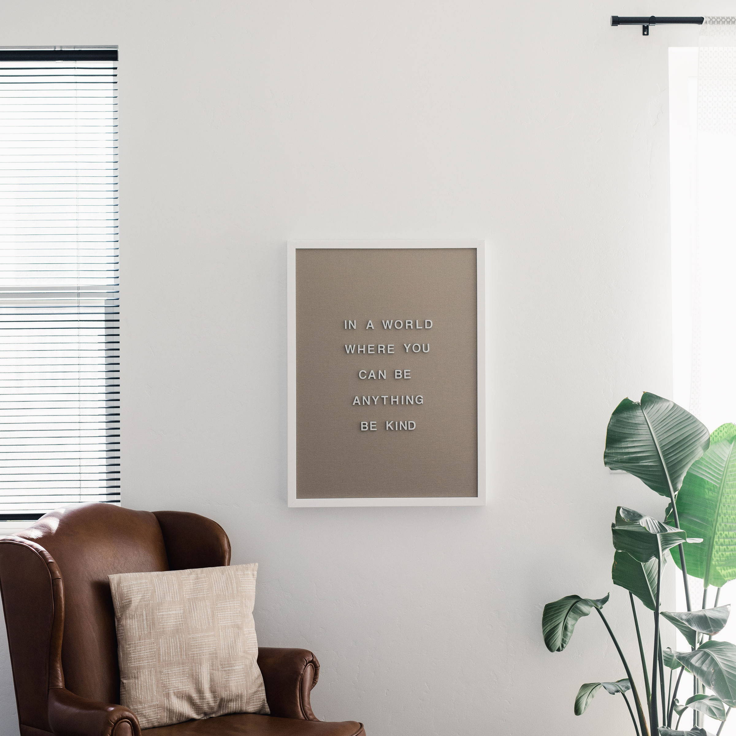 magnetic letter board hanging on wall