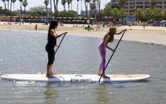 Duo Tandem Board paddling in Marina del Rey