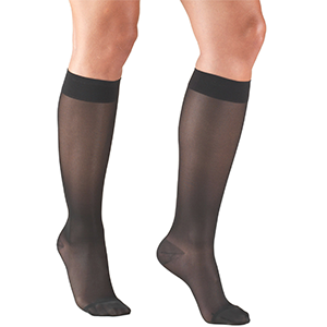 Ladies' Knee High Closed Toe Sheer Stocking in Charcoal
