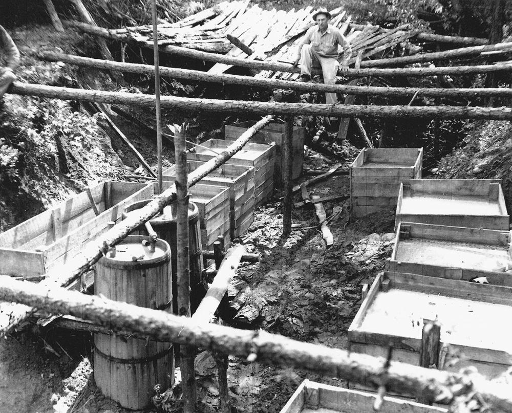 Large underground moonshine still operation. Located in Call Section, Wilkes County, North Carolina, circa 1950.