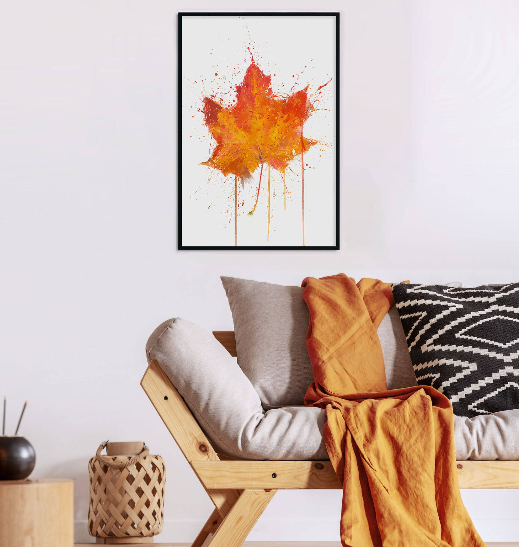 Living room setup with autumn colours and an autumn floral wall art print