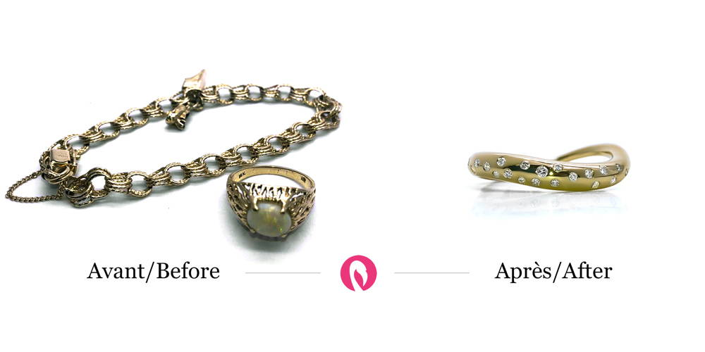Transformation of a bracelet and an old wide ring with stones and diamonds into a modern curved ring with diamonds set around it.